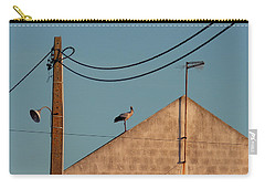 Stork On A Roof Carry-all Pouch by Menega Sabidussi