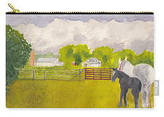 Storm Clouds Mare And Colt At Sunrise Carry-all Pouch