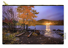 Carry-all Pouch featuring the photograph Stormy Night At Round Lake by Cat Connor