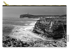 Carry-all Pouch featuring the photograph stormy sea - Slow waves in a rocky coast black and white photo by pedro cardona by Pedro Cardona