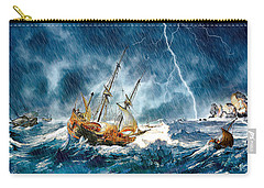 Carry-all Pouch featuring the digital art Stormy Seas by Pennie McCracken