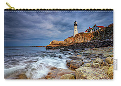 Stormy Skies At Portland Head Carry-all Pouch by Rick Berk