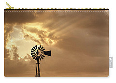 Stormy Sunset And Windmill 04 Carry-all Pouch by Rob Graham