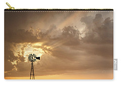 Stormy Sunset And Windmill 05 Carry-all Pouch by Rob Graham
