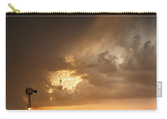 Stormy Sunset And Windmill 07 Carry-all Pouch by Rob Graham