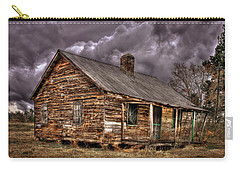 Carry-all Pouch featuring the photograph Stormy Times Tenant House Greene County Georgia Art by Reid Callaway