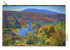 Carry-all Pouch featuring the photograph Stowe Vermont Church In Fall by Jeff Folger
