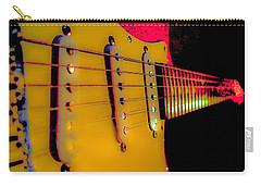 Carry-all Pouch featuring the photograph Guitar Pop Art Hot Rasberry Fire Neck Series by Guitar Wacky