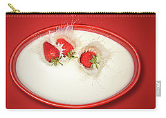 Strawberries Splashing In Milk Carry-all Pouch