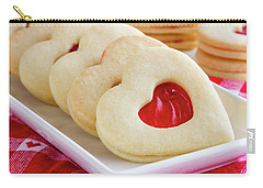 Carry-all Pouch featuring the photograph Strawberry Jam Filled Heart Cookies by Teri Virbickis
