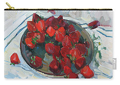 Strawberry On White Carry-all Pouch