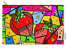 Carry-all Pouch featuring the digital art Strawberry Popart By Nico Bielow by Nico Bielow