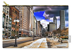 Carry-all Pouch featuring the digital art Streets Of Chicago by Kathy Tarochione