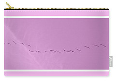 String Of Birds In Rose Pink Carry-all Pouch