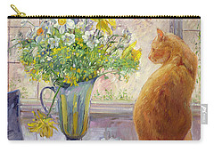 Striped Jug With Spring Flowers Carry-all Pouch by Timothy Easton