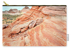 Carry-all Pouch featuring the photograph Striped Sandstone Along Park Road In Valley Of Fire by Ray Mathis