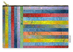 Stripes With Blue And Red Carry-all Pouch by Michelle Calkins