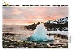 Strokkur Winter Blowup In Front Of Sunset Carry-all Pouch