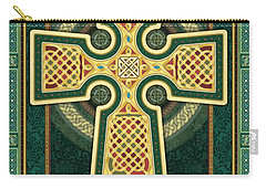 Stylized Celtic Cross In Green Carry-all Pouch