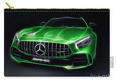 Stylized Illustration 2017 Mercedes Amg Gt R Coupe Sports Car Carry-all Pouch