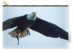 Carry-all Pouch featuring the photograph Successful Bald Eagle Panoramic by Jeff at JSJ Photography