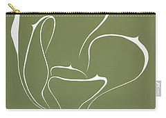 Carry-all Pouch featuring the painting Succulent In Green by Ben Gertsberg