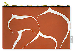 Carry-all Pouch featuring the painting Succulent In Orange by Ben Gertsberg