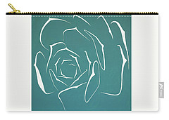 Carry-all Pouch featuring the painting Succulent In Turquoise by Ben Gertsberg