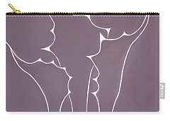 Carry-all Pouch featuring the painting Succulent In Violet by Ben Gertsberg