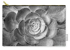 Carry-all Pouch featuring the photograph Succulent Plant Black And White by John  Mitchell