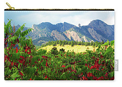Carry-all Pouch featuring the photograph Sumac And Flatirons 2 by Marilyn Hunt