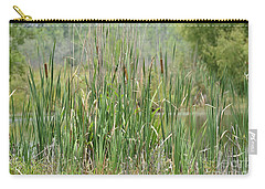 Carry-all Pouch featuring the photograph Summer Cattails by Maria Urso