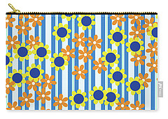 Summer Floral Stripes Blue Yellow Orange Flowers Carry-all Pouch