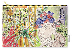 Carry-all Pouch featuring the drawing Summer Garden by Barbara Anna Knauf