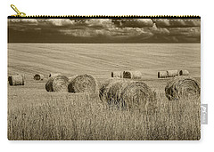 Summer Harvest Field With Hay Bales In Sepia Carry-all Pouch