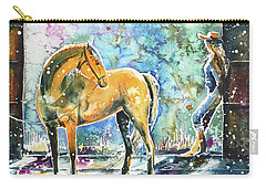 Carry-all Pouch featuring the painting Summer Morning At The Barn by Zaira Dzhaubaeva