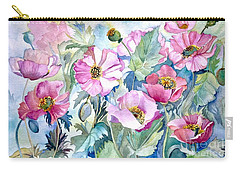 Carry-all Pouch featuring the painting Summer Poppies by Iya Carson