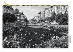 Carry-all Pouch featuring the photograph Summer Prague. Black And White by Jenny Rainbow