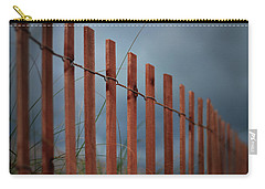 Carry-all Pouch featuring the photograph Summer Storm Beach Fence by Laura Fasulo