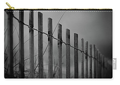 Carry-all Pouch featuring the photograph Summer Storm Beach Fence Mono by Laura Fasulo