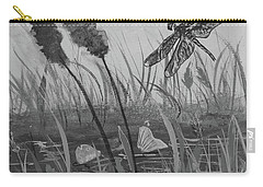 Carry-all Pouch featuring the painting Summertime Dragonfly Black And White by Robin Maria Pedrero