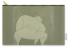 Carry-all Pouch featuring the painting Sumo Wrestler by Ben Gertsberg