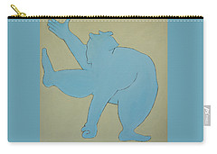 Carry-all Pouch featuring the painting Sumo Wrestler In Blue by Ben Gertsberg