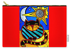 Sun And Moon - Honourable Cat - Art By Dora Hathazi Mendes Carry-all Pouch by Dora Hathazi Mendes