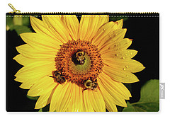 Sunflower And Bees Carry-all Pouch by Nancy Landry