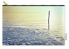 Sun Going Down In Calm Frozen Lake Carry-all Pouch