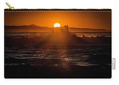 Sun Setting Behind Santa Cruz Island Carry-all Pouch by John A Rodriguez