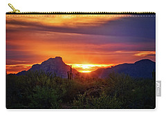 Carry-all Pouch featuring the photograph Sun Setting On Red Mountain  by Saija Lehtonen