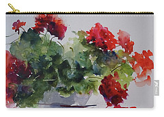 Carry-all Pouch featuring the painting Sunday Morning Geraniums by Sandra Strohschein
