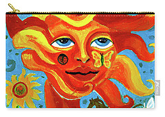 Carry-all Pouch featuring the painting Sunface With Butterfly And Horse by Genevieve Esson